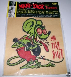 Vintage 1960s Rat Fink Iron On Transfer Decal NIP 1963