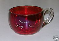 Ray Indiana Souvenir Ruby Flash Glass Coffee Cup