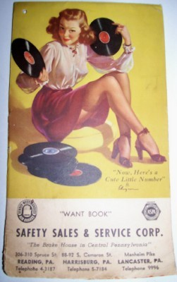 1940's Elvgren Tablet Pin Up Cheesecake Girl Playing 78 Records