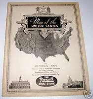 1930 Rexall Drug Store Advertising United States Map