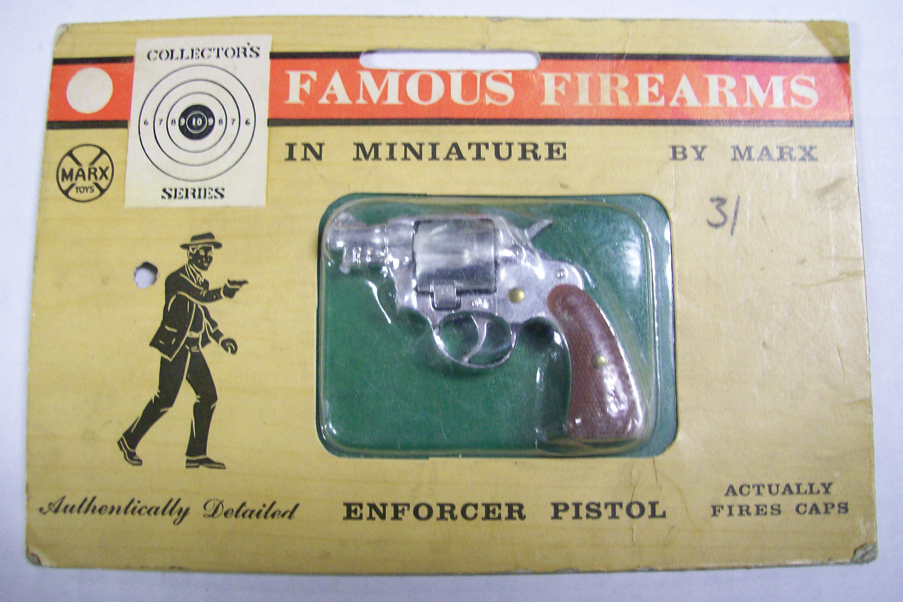 Marx Famous Firearms In Mineature-Enforcer Pistol Fires caps