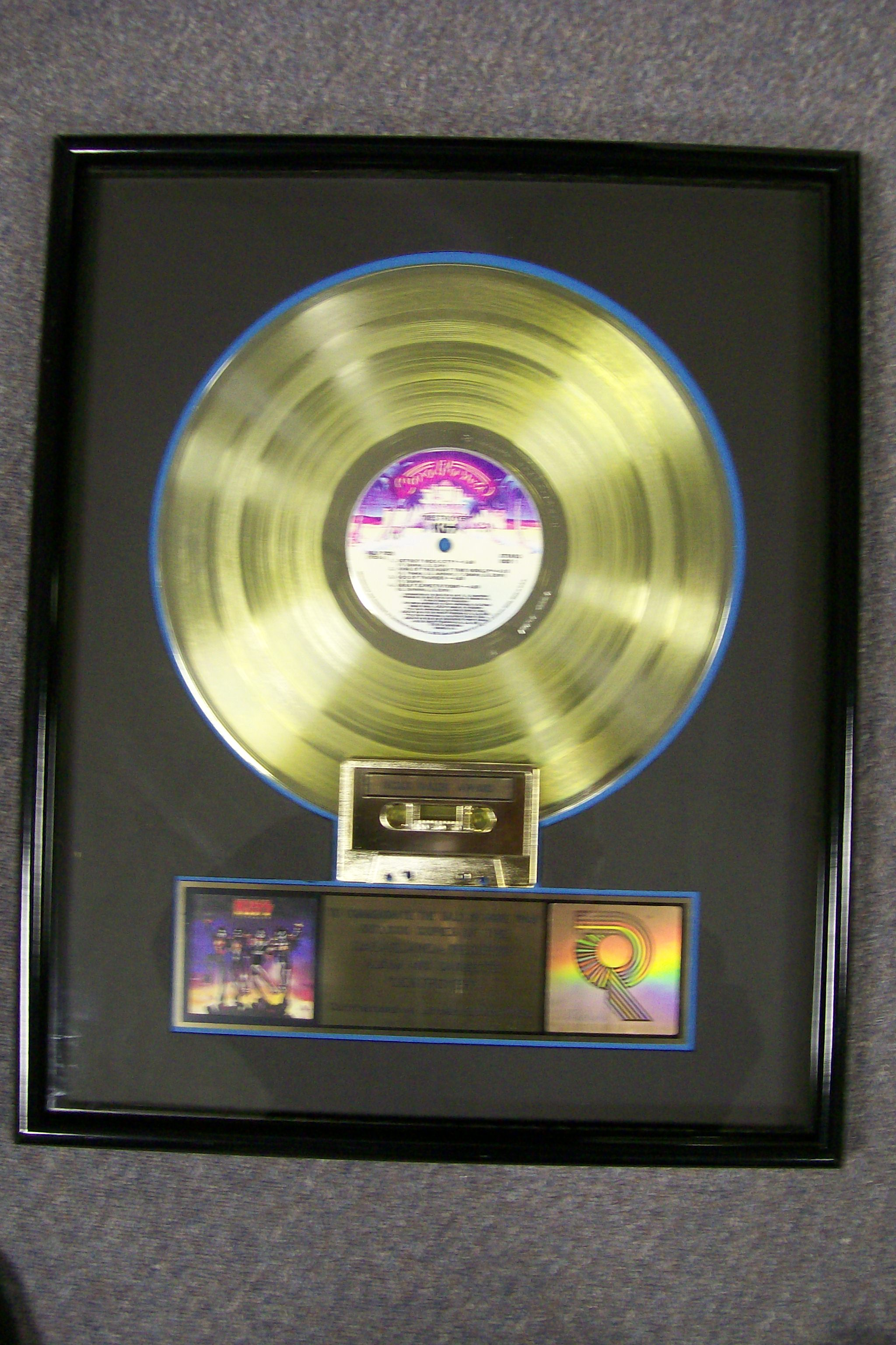Kiss Destroyer Gold Record Award #156 RIAA COA On Back