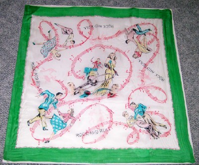 Vintage 1950s Rock & Roll Scarf With Jitterbug Dancers & Music