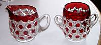 Ruby Flash Glass Hexagon Block Print Sugar & Creamer