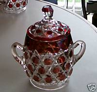 Ruby Flash Glass Sugar Bowl With Lid - Hexagon Block Print