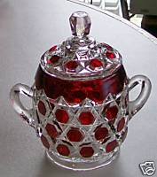 Ruby Flash Glass Hexagon Block Covered Sugar Bowl