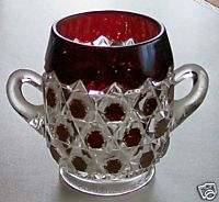 Ruby Flash Glass Block Print Pattern Sugar Bowl