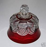 Ornate Ruby Flash Glass Butter Or Cheese Dish Lid