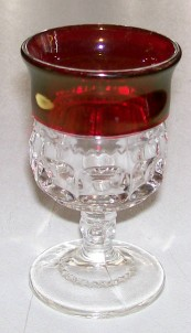 Ruby Flash Glass Cordial - Rick Rack With Thumbprint Pattern