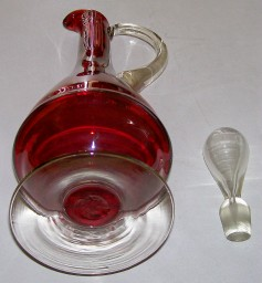 "16"" Ruby Glass Cruet With Clear Glass Stopper"