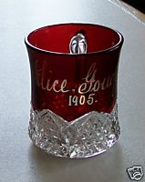 1905 Ruby Flash Glass Cup - Button Arches - Alice Gough