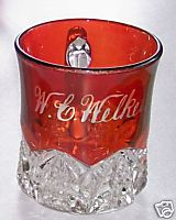 Ruby Flash Glass Cup Or Mug - W C Welker - Button Arches