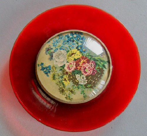 Unusual Ruby Flash Glass Wall Plate With Flower Centerpiece