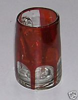 Ruby Flash Glass Match Holder With Ruby Handle - Fuel Oil Cup?