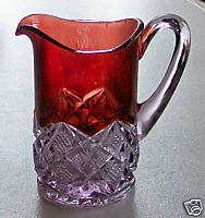 Ruby Flash Glass Pitcher - Button Diamond - For The Purist
