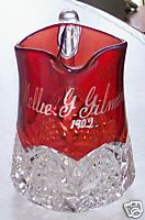 1902 Ruby Flash Glass Pitcher - Nellie G Gilmore