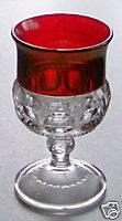 Ruby Flash Glass Small Goblet - Rickrack & Depressed Oval