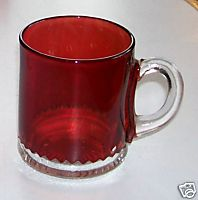 Ruby Flash Glass Cup/Mug - Rickrack Pattern - Not A Souvenir