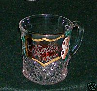 Ruby Flash Glass Handpainted Roses Cup - 1924 Mother