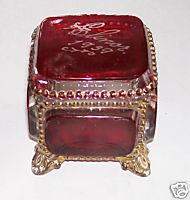 1930 Ruby Flash Glass Covered Dresser Vanity Trinket Box
