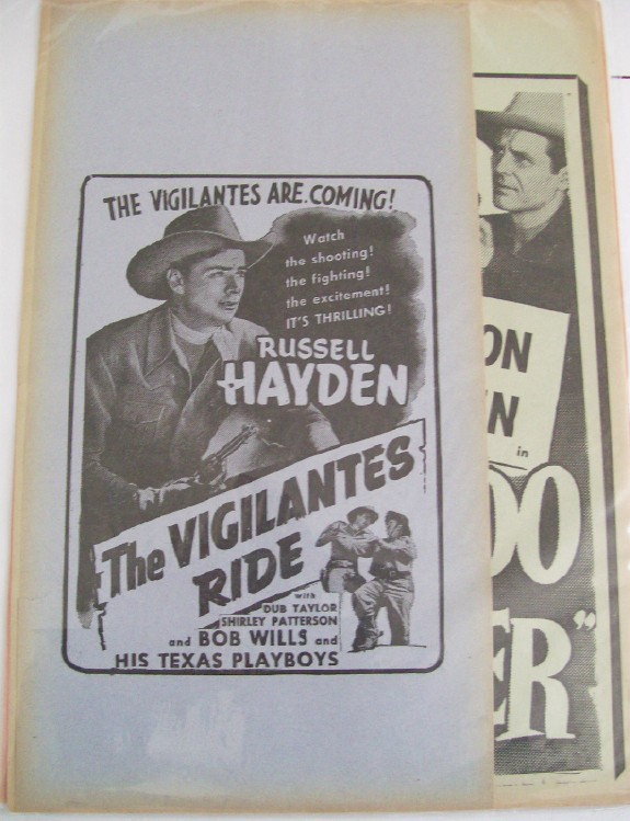 Vintage 1940s Russell Hayden Movie Cowboy Advertising Broadsides