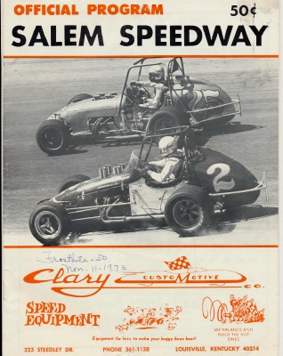1973 Salem Speedway Sprint Midget Stock Car Racing Program