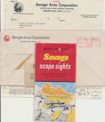 1959 Savage Arms Letterhead Invoice & Scope Sights Brochure