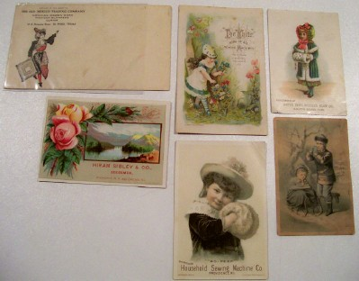 Trade Card & Cover Lot - Sewing Machine Plow Seed Stove ++