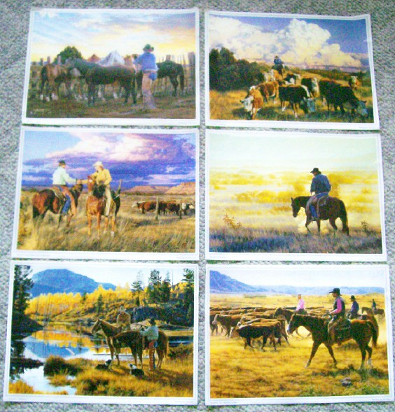 Set Of 6 Frameable Cowboy Western Prints by Tim Cox