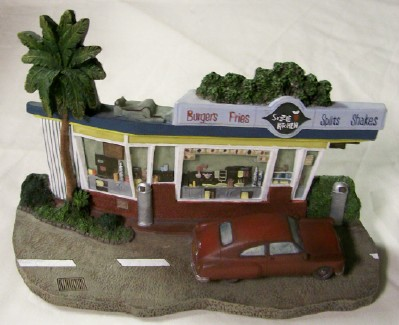 1950s Drag & Eat Burger Restaurant Model With 1950s Buick