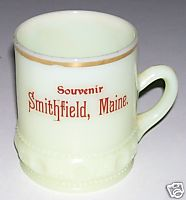 Smithfield Maine Souvenir Custard Glass Mug