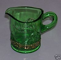 Sandusky Ohio Soldiers' Home Green Glass Pitcher W/Gold Flash