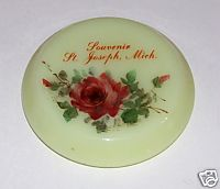 St Joseph MI Souvenir Custard Glass Trinket Box Lid