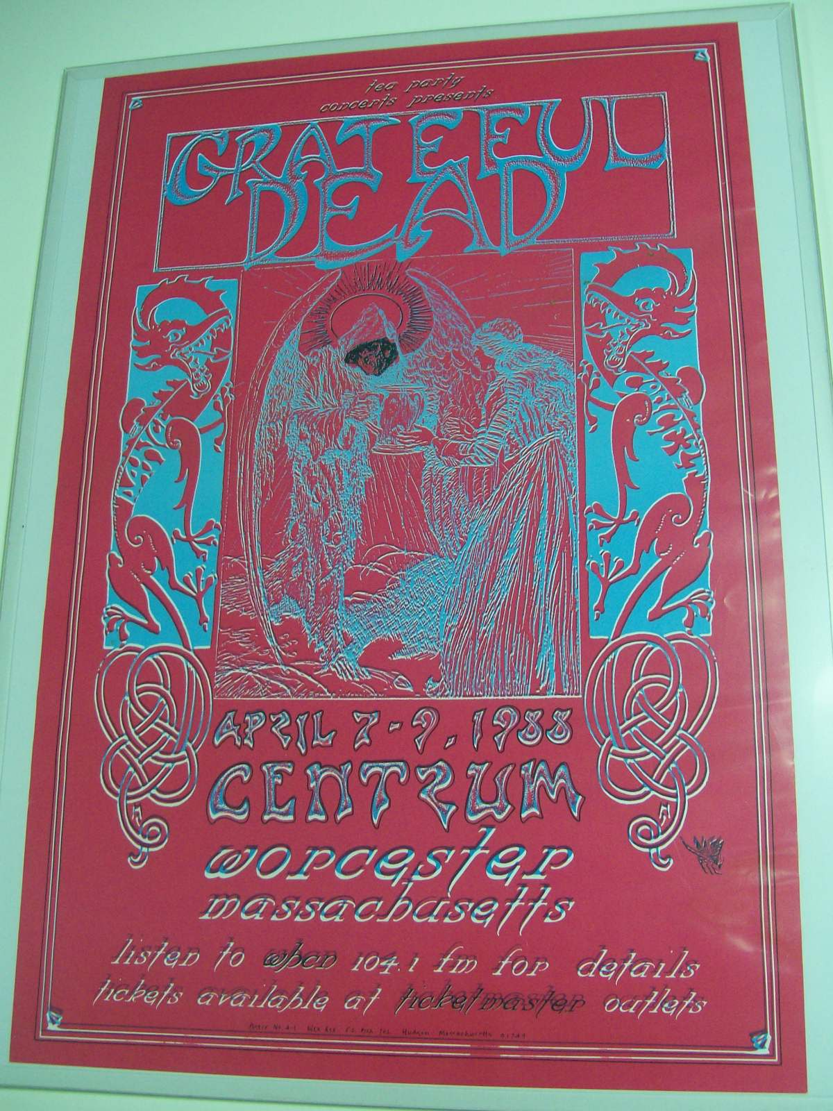 "GRATEFUL DEAD 15"" x 23"" POSTER 1988 WORCESTER,MASS."