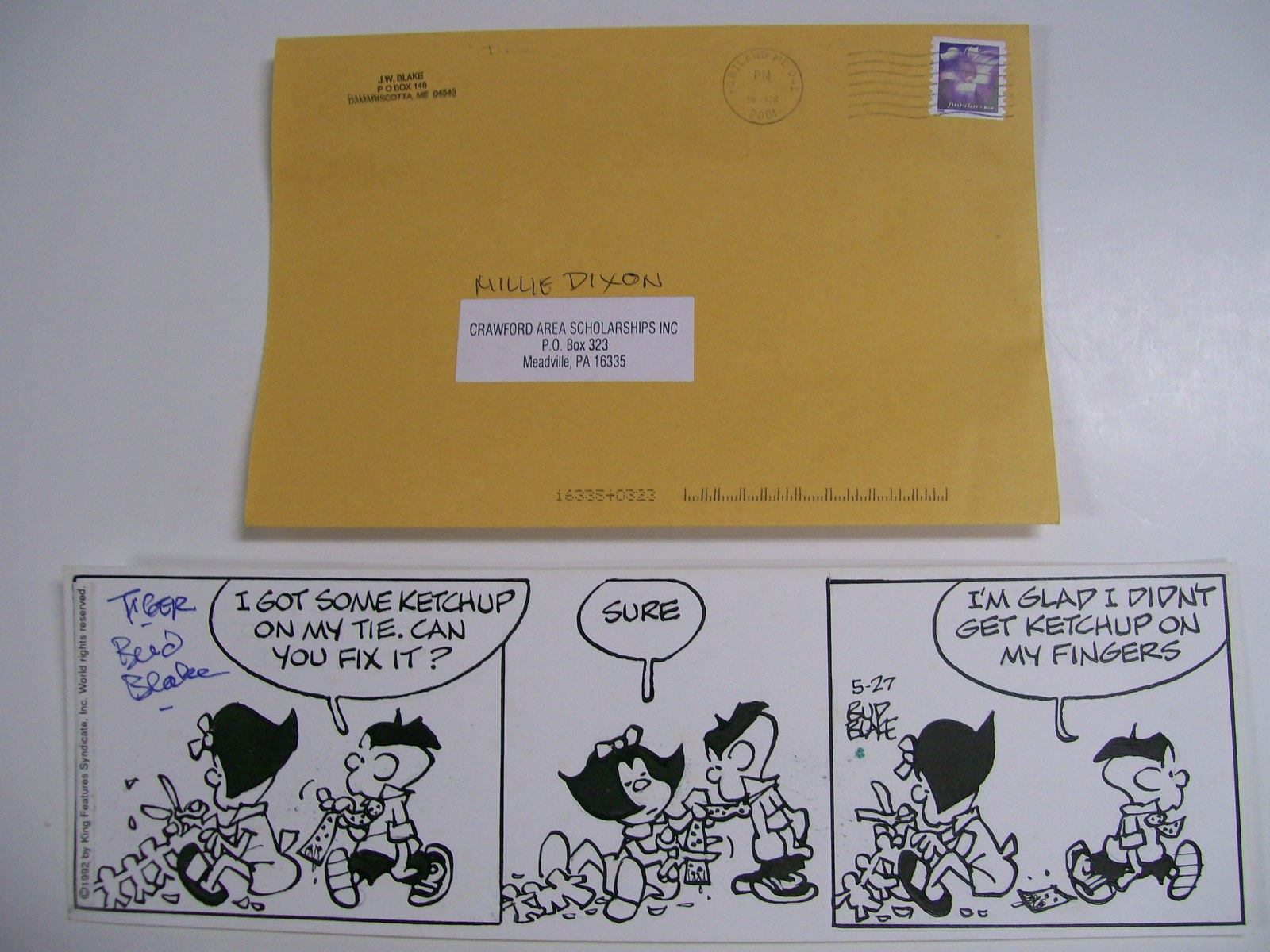 TIGER COMIC STRIP by BUD BLAKE 5/27/1992 AUTOGRAPHED