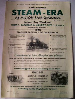1972 Poster Advertising A Steam Engine Show In Ontario Canada