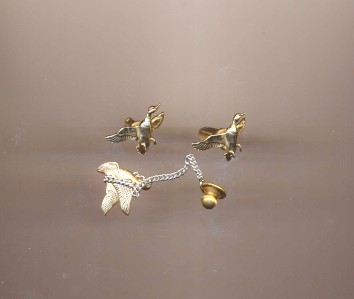 Vintage Flying Duck Cufflinks & Tie Pin Set By Swank