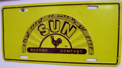 Vintage 60s Sun Record Company Advertising Metal License Plate