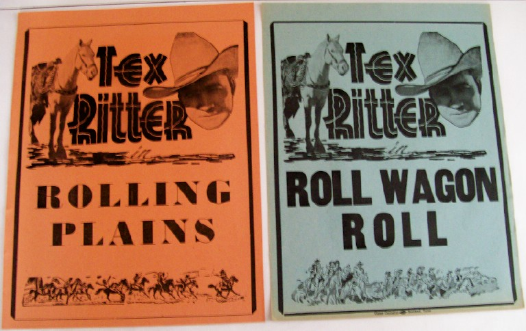 Lot Of 1940s Tex Ritter Western Movie Advertising Broadsides