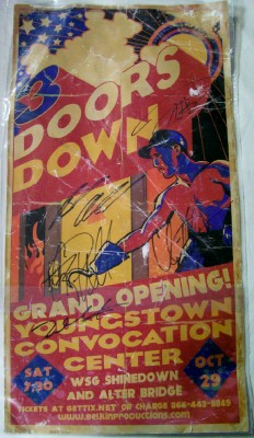 3 Doors Down Autographed Concert Appearance Poster