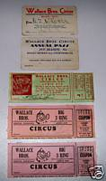 Lot Of 5 Wallace Bros Circus Tickets & Season Passes