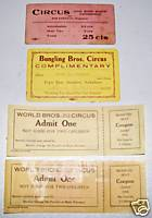 World Bros - Bungling Bros - Stricklin Circus Ticket Lot