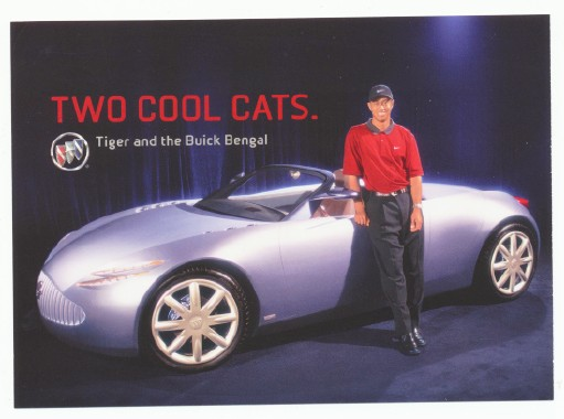2001 Buick Bengal Concept Car W/Tiger Woods Advertising Postcard