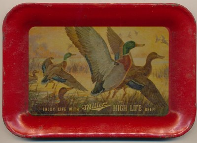 Vintage Miller High Life Beer Tip Tray With Mallard Ducks