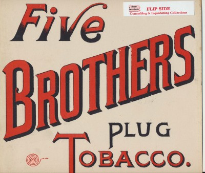 Vintage Five Brothers Plug Tobacco Advertising Sign
