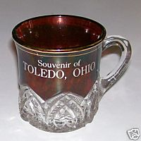 Toledo Ohio Souvenir Ruby Flash Glass Cup With Hearts