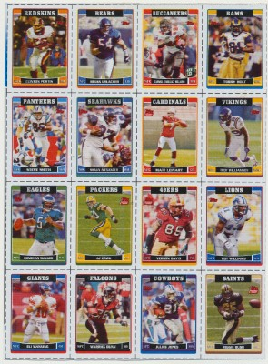 Uncut Sheet Of 16 Topps Football Trading Cards Cereal Premium