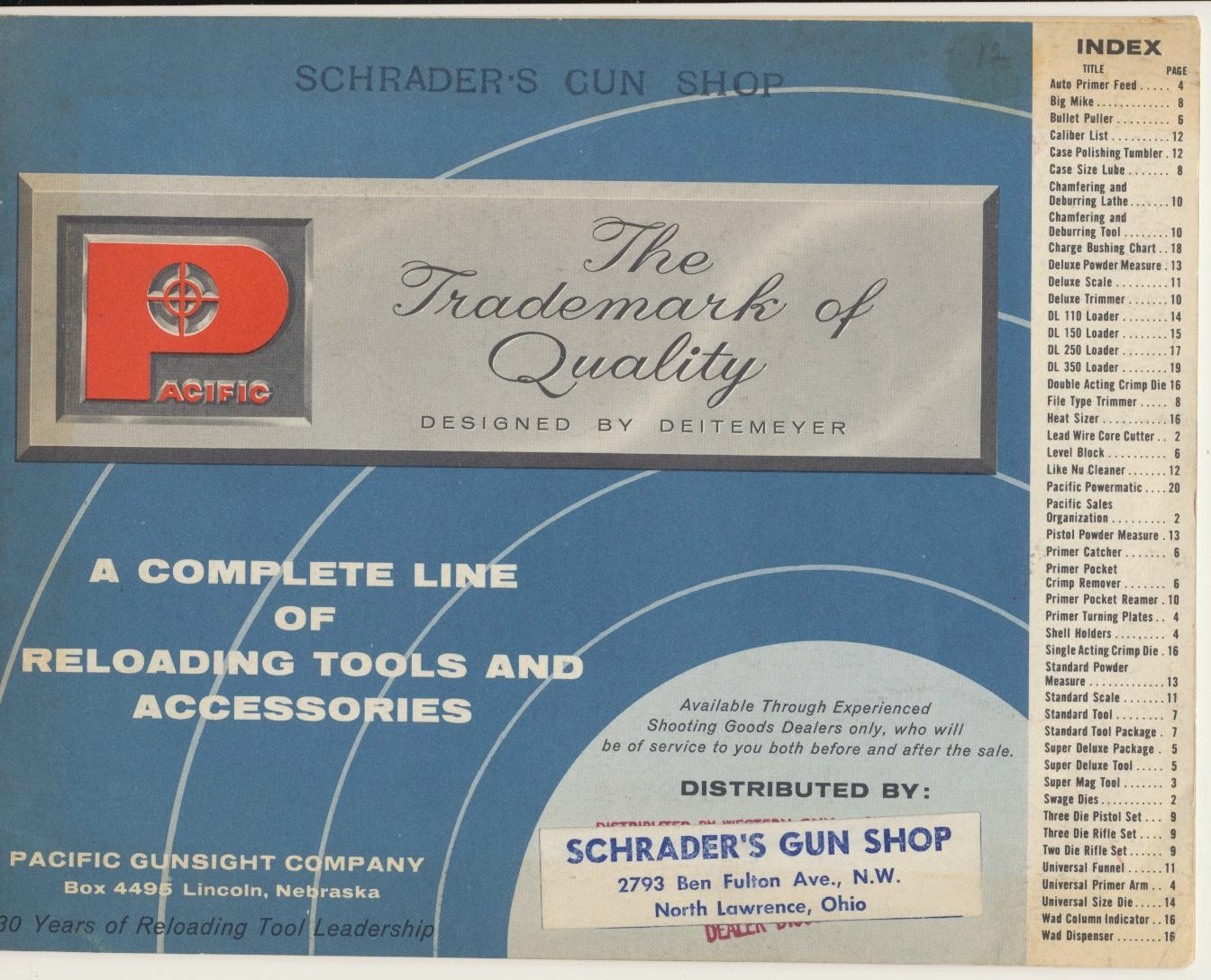 1964 Pacific Gunsight Co Reloading Tools & Accessories Catalog