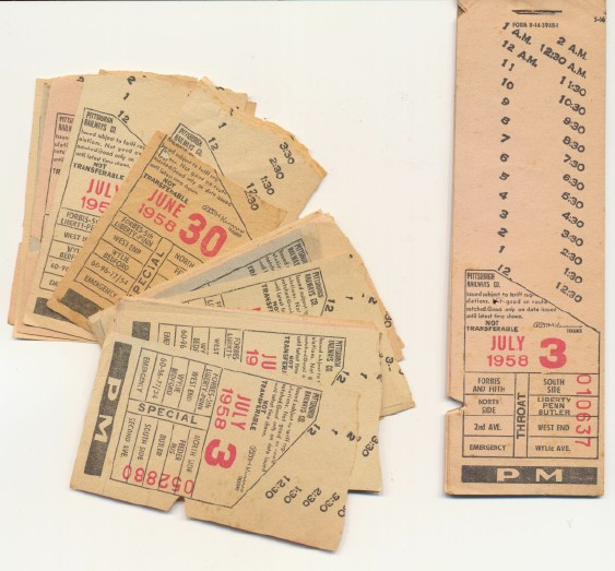 Lot Of 1958 Pittsburgh Trolley Tickets + Unused Ticket Book