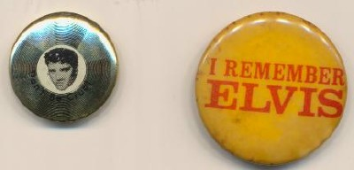 Pair Of Elvis Presley Pinback Pins - I Remember & Don't Be Cruel